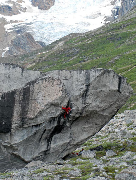 Climbing on the bivvy boulder., Richard Felderer
