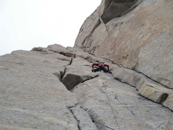 Larcher on pitch 15 of The Children of Hushe. A satisfying 70m 7a+, on-sighted at 5500m., arch. Karakorum 2009