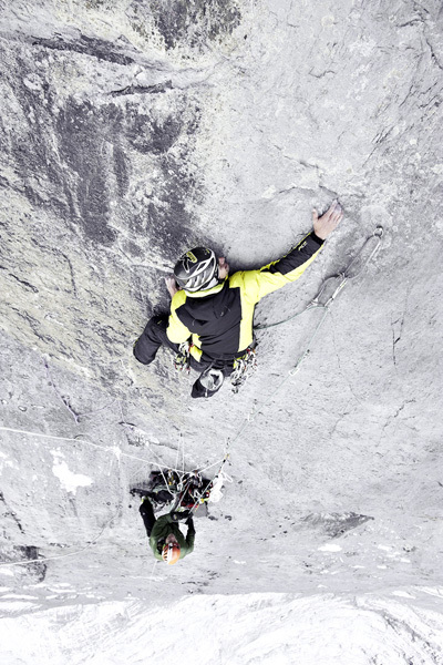 Roger Schäli during the first ascent of the