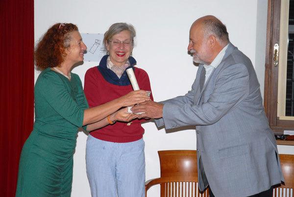 Kriemhild Buhl con la traduttrice Marina Verna e Kurt Diemberger, arch. Leggimontagna