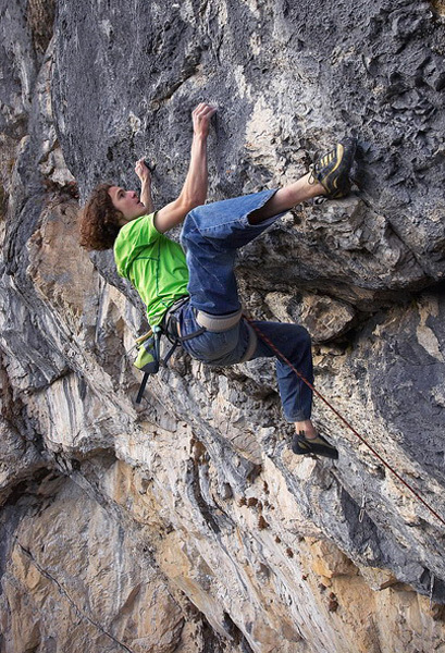 November 2008. Adam Ondra during the second ascent of Open Air, 9a+, Schleierwasserfall, Austria., Vojtech Vrzba