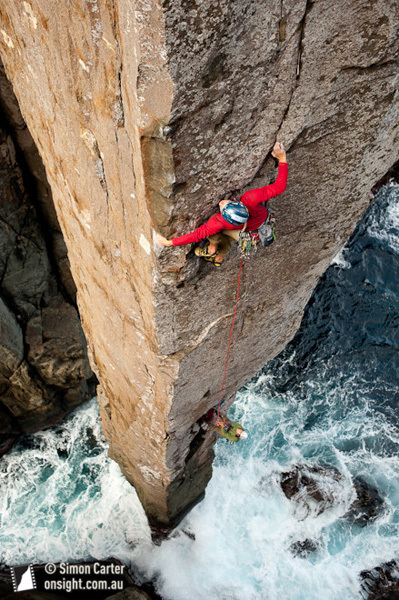 Doug McConnell and Dean Rollins freeing the original Ewbank route on the Totem Pole, the extraordinary 65m sea stack at Cape Hauy, Tasmania, Australia., Simon Carter / Onsight Photography