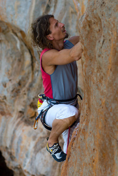 Alberto Gnerro getting to grips with the rock in Sicily, Marco Spataro