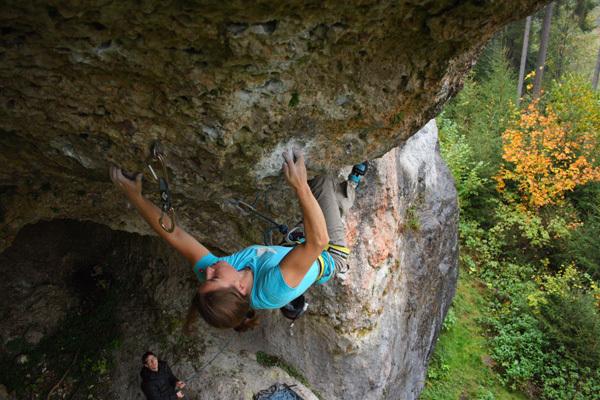 Sarah Seeger climbing Steinbock 8c, Frankenjura, Germany., Ricarda Miller