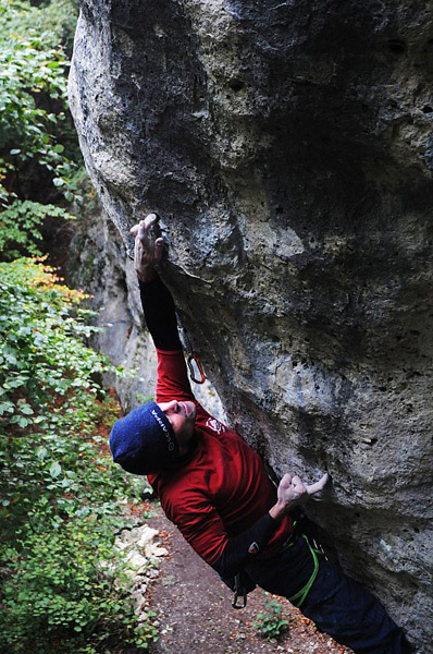 Matteo Gambaro during the first ascent of Azione diretta 8c+/9a, Borgata Piatta, Montemale, Cuneo, Italy, Paolo Ansaldi