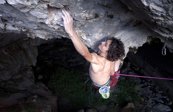 Adam Ondra climbing Marina Superstar 9a+/b at Bronx at the Grotta San Giovanni, Sardinia.
