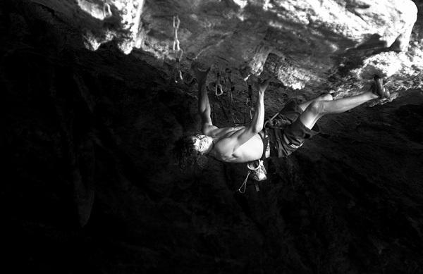 Adam Ondra climbing Marina Superstar 9a+/b at Bronx at the Grotta San Giovanni, Sardinia. , Vojtech Vrzba