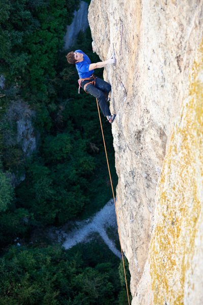 Ekaitz Maiz making the first ascent of his Basapiztien eremua 9a at Extauri, Spain., Jon Balsera