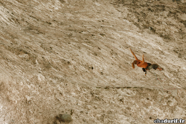 Charlotte Durif from France making the first ascents of Pull Over 8c+ at the Grotte de Galetas, Verdon, France, Durif