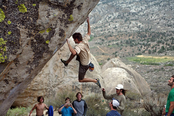 Chris Sharma repeating his 2000 testpiece, The Mandala at the Buttermilks in front of his Yo! Basecamp summer bouldering class., Wills Young