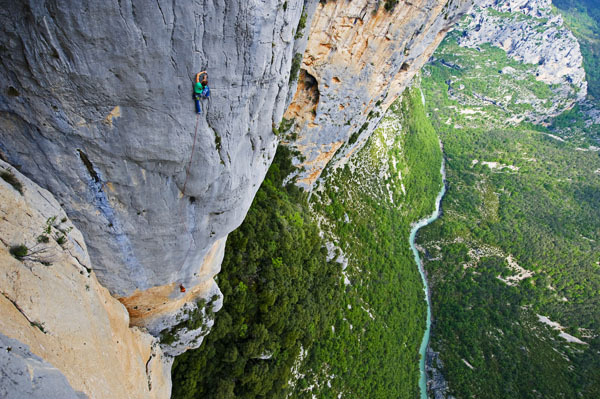 Lauren Lee high on Eve Line, an ultra classic 7b in the Verdon Gorge, France, Keith Ladzinski