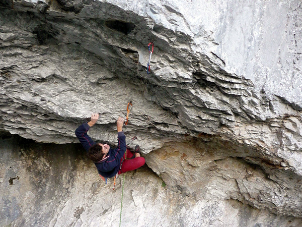 Arthur Kubista making the first ascent of Der lange Atem 9a+, Schattenreich, Höllental, Austria., arch. Arthur Kubista