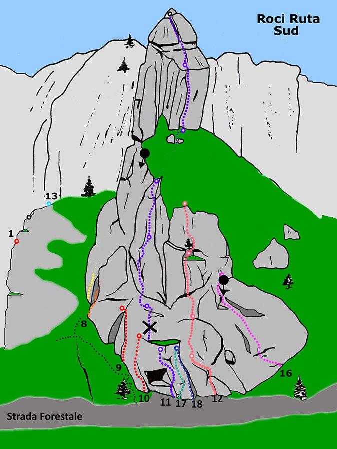 Bec Roci Ruta, versante sud, arch. Elio Bonfanti