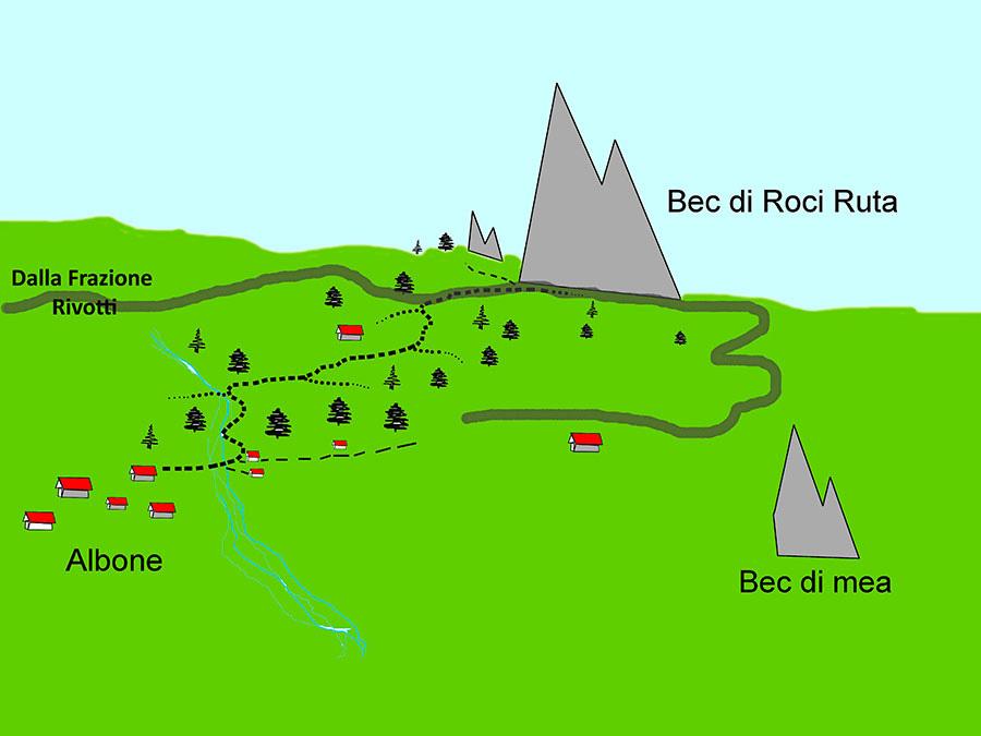Bec Roci Ruta, mappa generale, arch. Elio Bonfanti