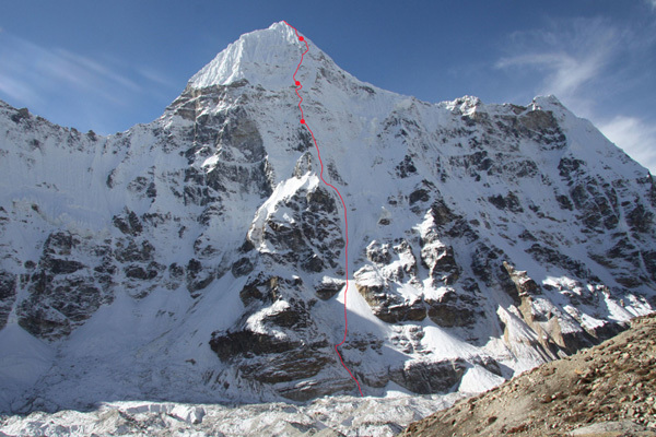 The impressive North Face Chang Himal (6750m) and the line of ascent chosen by Andy Houseman and Nick Bullock., Bullock collection