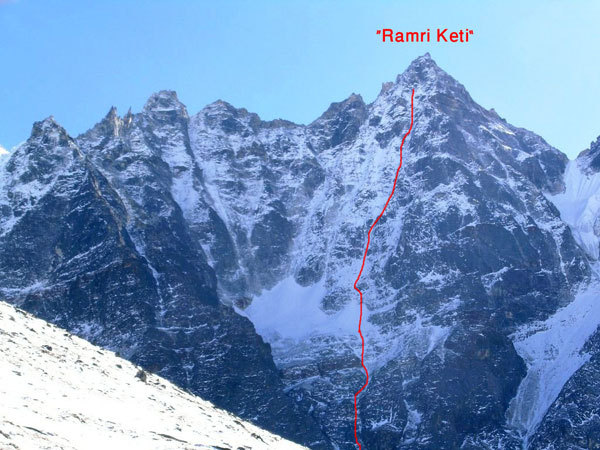 The North Face of Hama Yomjuma (5970m) and the line of ascent of Ramri Keti, arch. E. Bonino