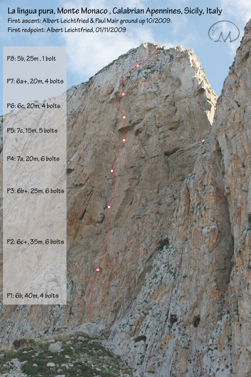 La lingua pura (7c, 6c oblig, 200m) on the North Face of Monte Monaco close to San Vito lo Capo in Sicily, Italy, Klaus Kranebitter