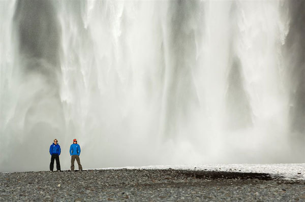 Albert Leichtfried and Markus Bendler - the impressive Skogarfoss waterfall, Hermann Eber