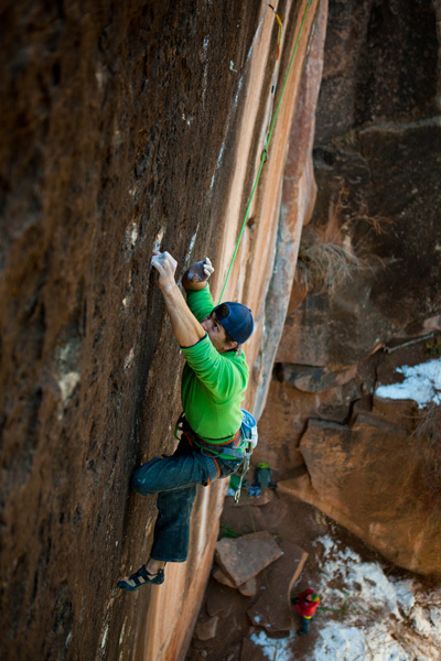 Sonnie Trotter from Canada making the first retro-trad ascent of Prosthetics 5.13d (r/x) at Mill Creek, Utah, USA., Andrew Burr