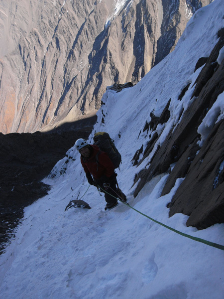 Ren Zhong Feng, China. Lost to Ice (TD: M4, WI4, 1300m), Kristoffer Szilas and Martin Ploug 11/2008, archive Kristoffer Szilas