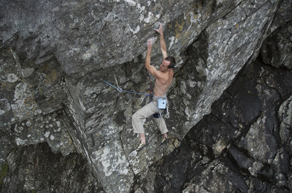Dave Macleod high on his Echo Wall, Ben Nevis, Scotland, archive Dave Macleod