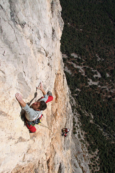 Geremia Vergoni climbing the 10th pitch of Ultima Fiamma, Piccolo Dain, Valle del Sarca, Italy., arch Rolando Larcher