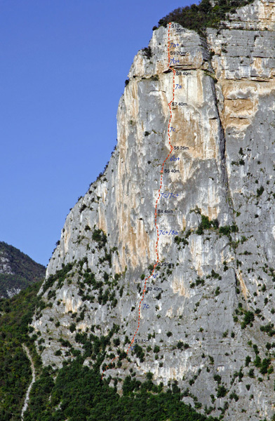 The topo of Ultima Fiamma, Piccolo Dain, Valle del Sarca, Italy., arch Rolando Larcher