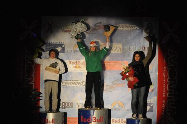 Podio feminile Campionato Italiano Lead, da sx a dx:2 Anna Gislimberti, 1 Jenny Lavarda, 3 Manuela Valsecchi, Planetmountain.com