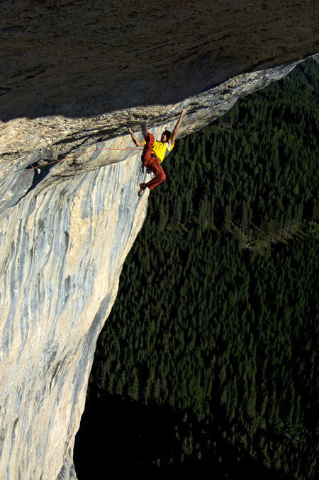 Mario Prinoth climbing Basic Instinct, Val San Nicolò, Dolomites, Italy, H. Mariacher
