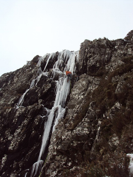 Dave Macleod making the first ascent of Frozen Assets (VII,7) at Aonach Eagach, Glen Coe, Scotland, Sam Wood