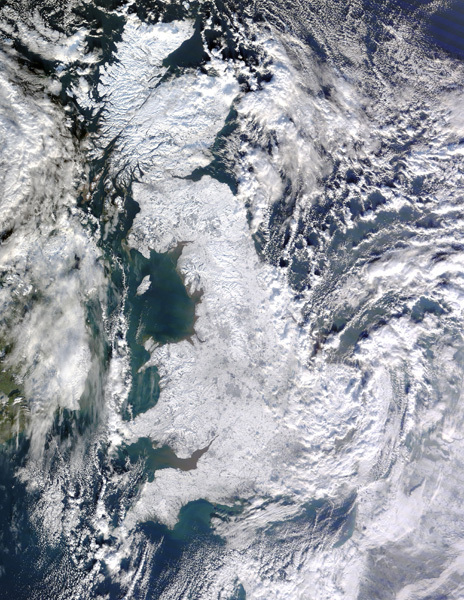 Image taken via satellite of Great Britain locked in a winter freeze., NASA