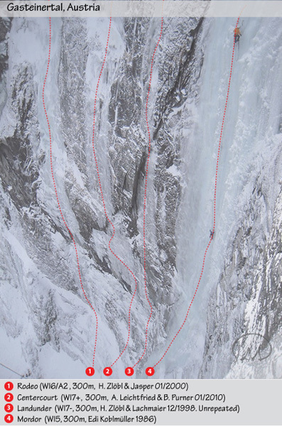 The incredible lines of Rodeo (300m, WI6/A2), Centercourt (300m, WI7+), Landunder (300m WI7-) and Mordor (300m, WI5) in the Anlauftal, Gasteinertal, Austria, Benedikt Purner