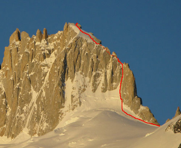 Aguja Guillaumet from the east, showing the Amy Route., Colin Haley