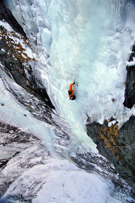 Rudolf Hauser during his solo ascent of Supervisor (270m, WI6), Gasteinertal, Austria, Gerald Zussner