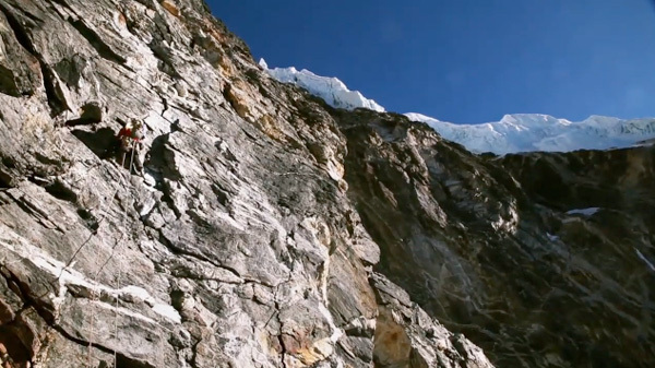 Tawoche, Central South Buttress first ascent by Renan Ozturk and Cory Richards (1200m ED2 VI 5.10 M4/5, 13-16/01/2010), Nepal., Renan Ozturk / Cory Richards