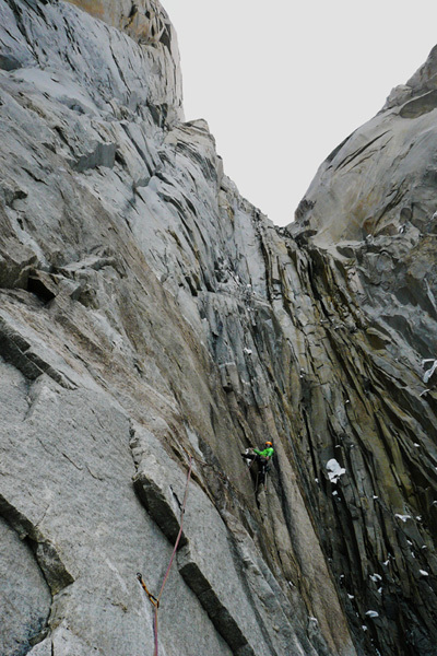 The first complicated pitch of Waiting for Godot (750m, 7b) Torres del Paine, Patagonia., Auer/Mayr