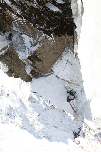 Dave Birkett making the first ascent of Never Ever Say Never, Scafell Buttress, Lake District, England., Ed Luke