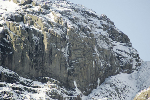 The East Buttress of Scafell. Never Ever Say Never takes the central drip., Al Phizacklea