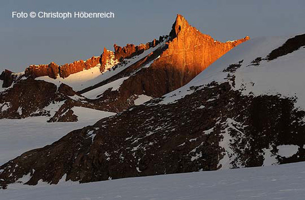 Peak Alexey Turchin (2232m) was first ascended via the snow slope from the left., Christoph Höbenreich