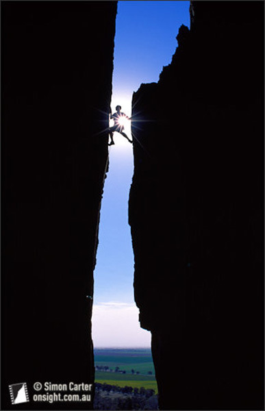 Winner Grand Prize of the Vancouver International Mountain Film Festival 2010. Tony Barron climbing Agamemnon (10) at Arapiles, Australia, Simon Carter