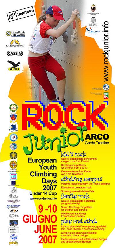 Sabato 9 e domenica 10 Giugno 2007 ad Arco (Tn, Lago di Garda) si svolgerà la 6a edizione del Rock Junior, l'unico festival europeo dell'arrampicata per i giovani e le famiglie., Planetmountain.com