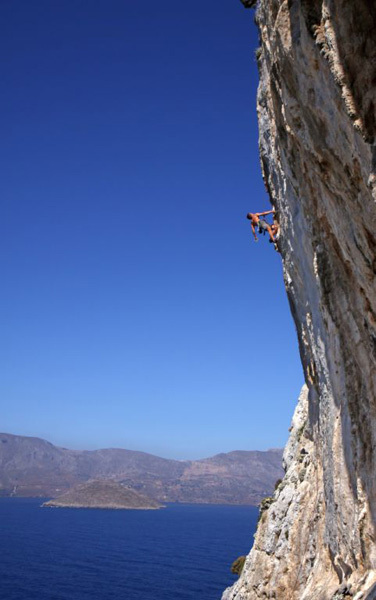 Sport climbing on Telendos opposite Kalymnos, Greece. Simon Montmory (the now-resident in Kalymnos French climbing instructor) on-sighting
