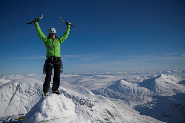 Ines Papert on the summit of Ben Nevis, Hans Hornberger