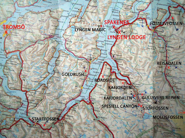 Map showing the routes climbed by Albert Leichtfried and Bendikt Purner in the Lyngen Fjord, Norway, Planetmountain.com