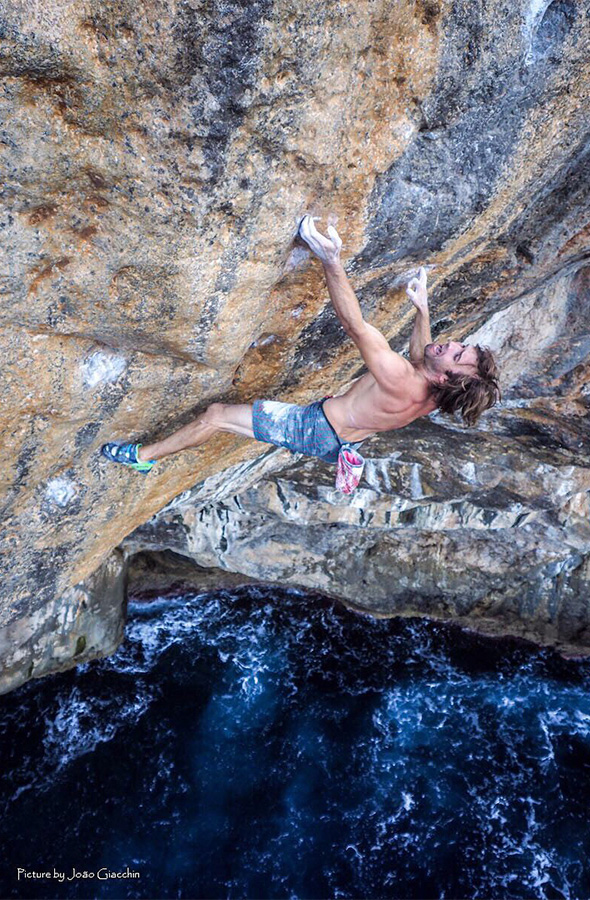 Chris Sharma climbing Big Fish, his difficult Mallorca Deep Water Solo