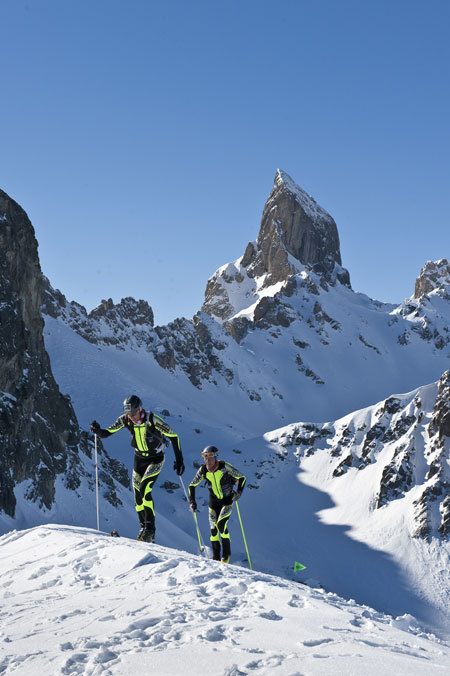 Florent Perrier and William Bon Mardion in front of Pierra Menta, the emblematic summit in the Beaufortain area, Jocelyn Chavy