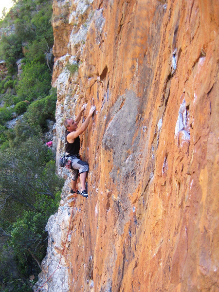 Tony Lourens on a 6a+ in Montagu., Tony Lourens Collection