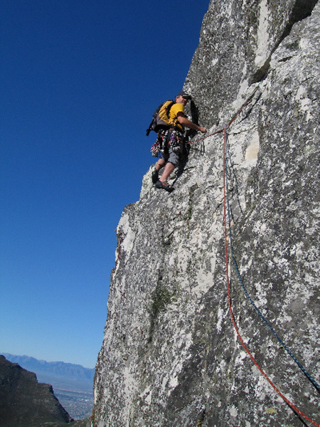Getting exposed on an easy Table Mountain Classis – Africa Crag (4c), Tony Lourens Collection