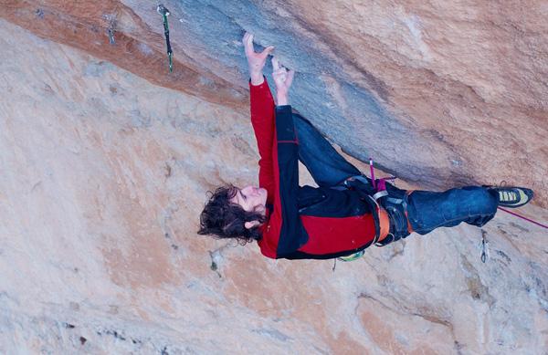 Adam Ondra climbing Golpe de estado 9b at Siurana, Spain, Vojtech Vrzba