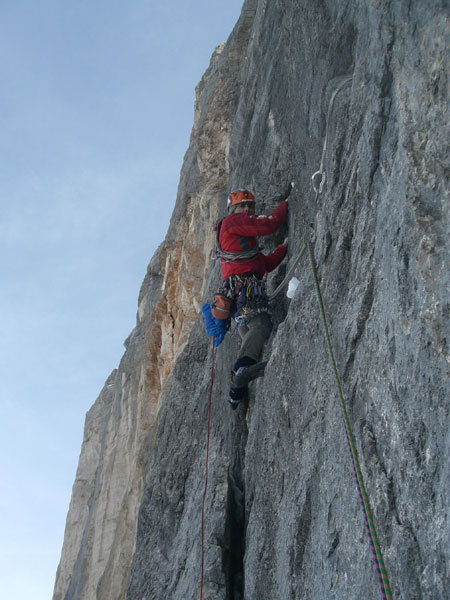 Alessandro Baù and Nicola Tondini during the first winter ascent of Captain Sky-hook, Civetta, Dolomites, arch. Baù - Tondini